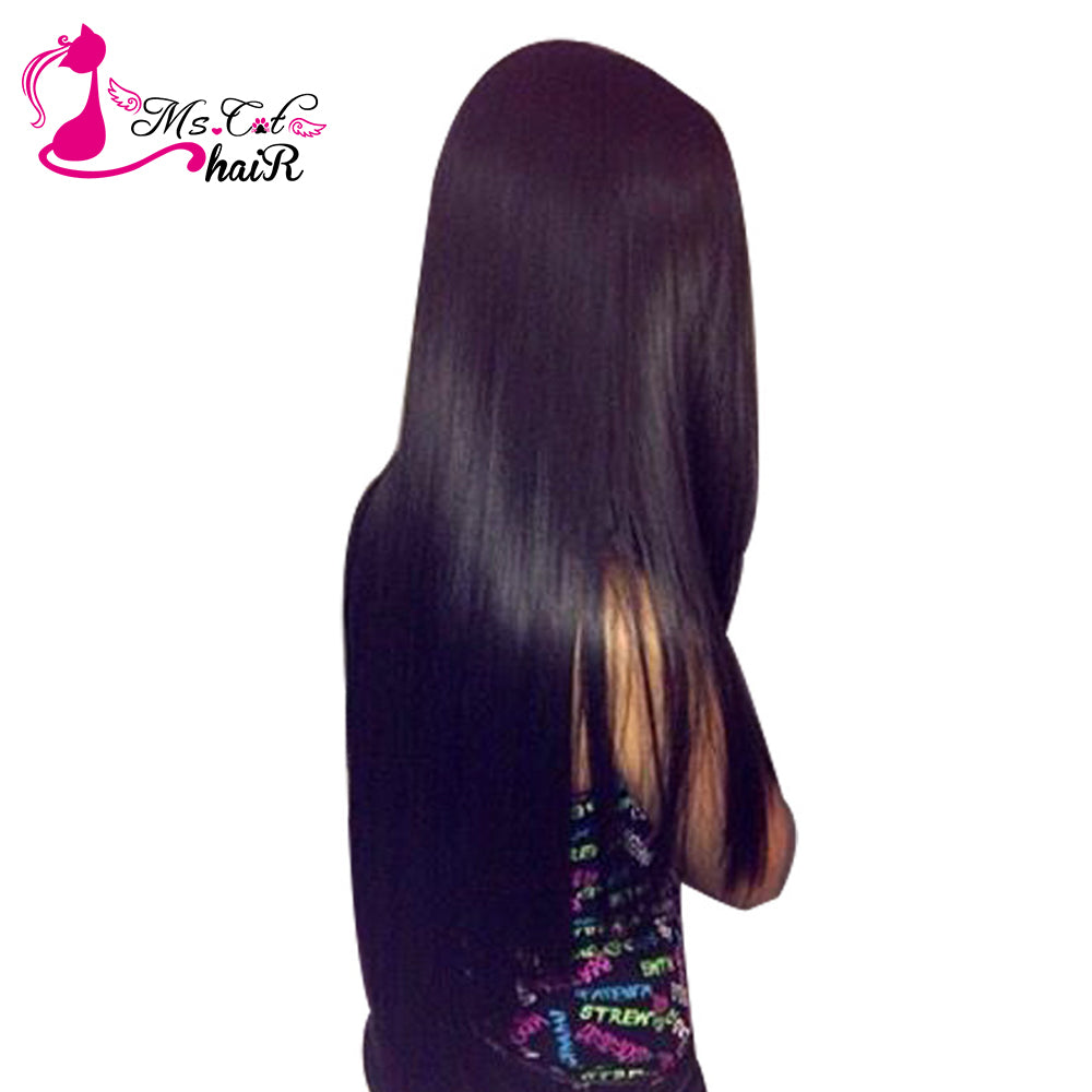 Brazilian Straight Hair 1/3/4 Bundles Ms Cat Hair 100% Human Hair Weave Bundles Natural Color 8