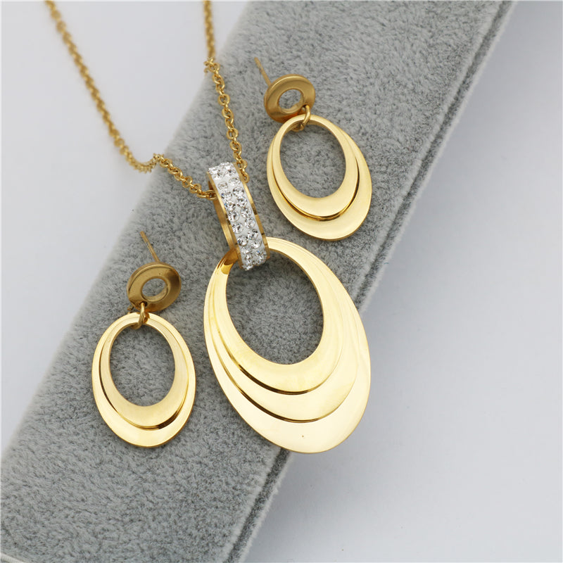 New trendy geometric Stainless Steel Jewelry sets Gold Color pendant  earrings sets For Women