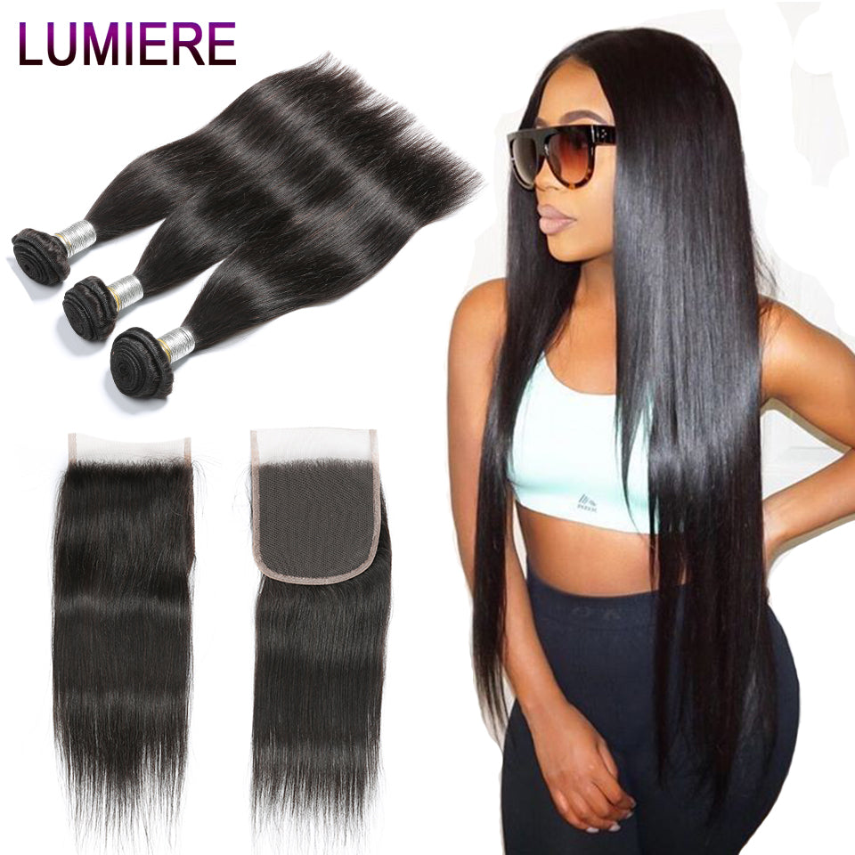 Lumiere Hair Product Brazilian Straight Hair Lace Closure Non Remy Weft Hair Weave 2/3/4 Bundles Human Hair Bundles With Closure