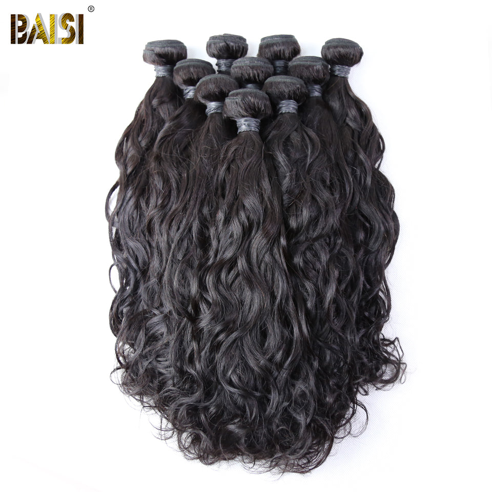 BAISI Hair 100% Brazilian Remy Human Hair Water Wave,Hair Bundles Natural Color 10Bundles/Lot