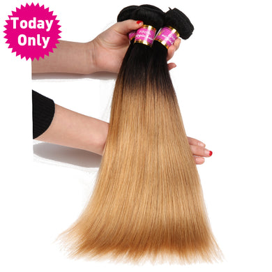 TODAY ONLY 1 / 3 / 4 Bundles Blonde Brazilian Straight Hair Bundles Ombre Human Hair Bundles 1b 27 Brazilian Hair Weave Bundles