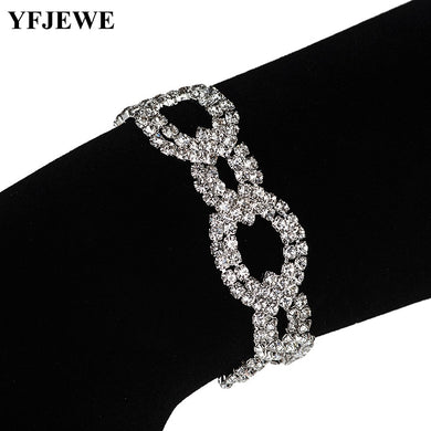 Women Crystal Bracelets Circles Clasp Bangles Jewelry