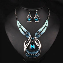 Fashion Bridal Jewelry Sets Antique Silver Color Crystal Water Drop Snake Skin Dripping Statement Necklace Earrings Jewelry