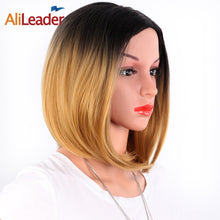 Alileader Short Straight Hair Wigs Women'S Bob Style Full Head Wig Heat Resistant Synthetic Real Thick Black Brown Blonde Hair