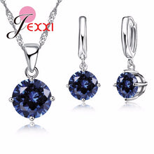 JEXXI Wedding Jewelry Sets For Brides 925 Sterling Silver Austrian Crystal Women Necklaces And Earrings Set Accessory