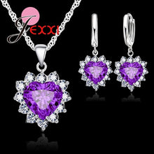 JEXXI Trendy Heart Austrian Crystal 925 Sterling Silver Pendant Necklaces Earrings Set