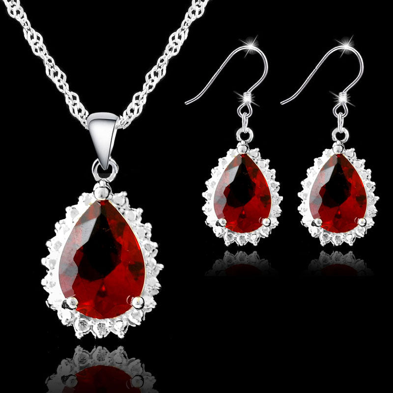 JEXXI Classic Water Drop Red Crytsal Pendant Necklace Earrings Set For Wedding Women 925 Sterling Silver Bridal Jewelry Sets