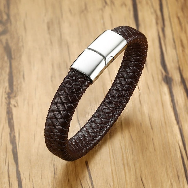 Vnox 12mm Casual Braided Genuine Leather Bracelets For Men Women Bangles Stainless Steel Black Brown Male Jewelry 19/21/23cm