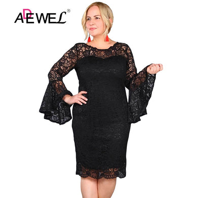 ADEWEL Sexy Black Flared Sleeve Flower Lace Party Dress Women Elegant Long Sleeves Knee Length Everning Gowns Plus size Dresses