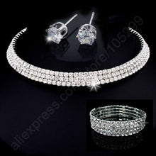 JEXXI New Arrival Jewellery Sets 925 Sterling Silver SW ELEMENT Crystal Necklace Stu Earring 4 Lines Bracelet Engagement Wedding