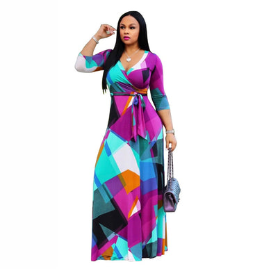 HAOOHU5XL Long Maxi Dress Print Plus Size Sexy Casual Summer Beach Clothes Women Vestidos  Elegant Robe Boho Party Club Dress