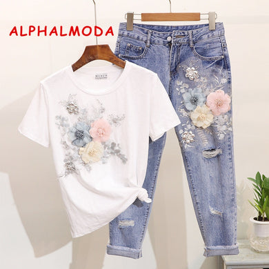ALPHALMODA 3D Flower Applique Fashion Tshirt Slim Denim Pants