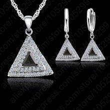 Top Selling 925 Sterling Silver Jewelry Set 18 inches Chain  Pendant Necklace /  Earring CZ Jewelry Set For  Women Wedding Gift