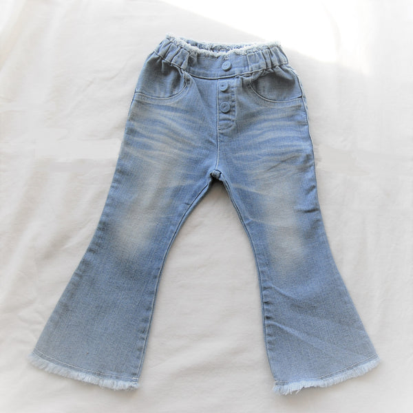 Flair Jeans with Frayed Hem