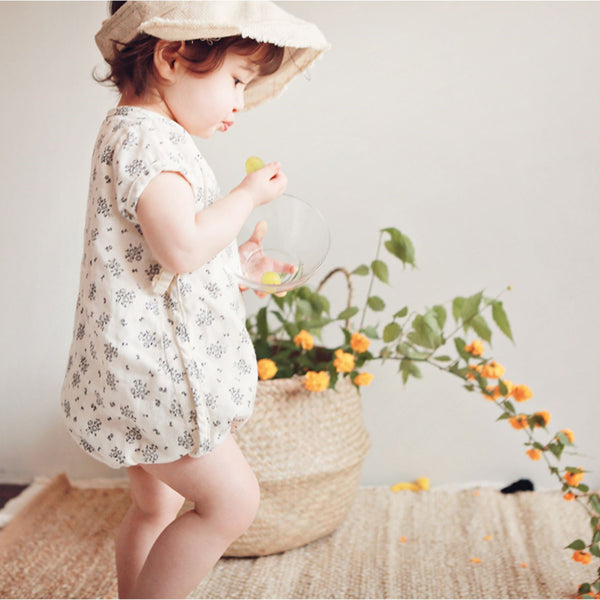 Beige Nature Romper with Flower Print