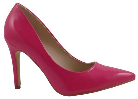 Hot Pink Patent Pointy Toe Pump