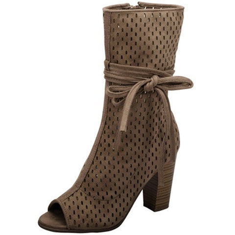 Gill Boot Open Toe Thick Heel