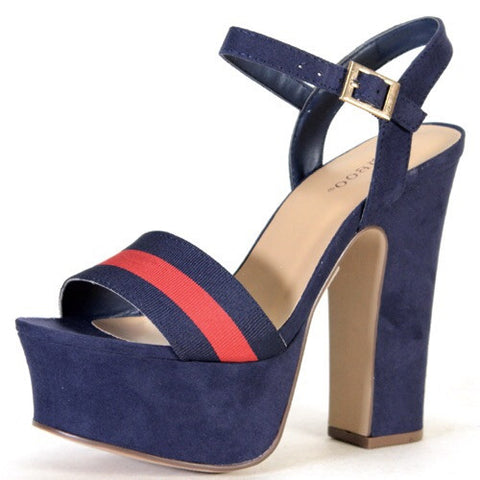 Blue Candace Jean Open Toe Thick Heel