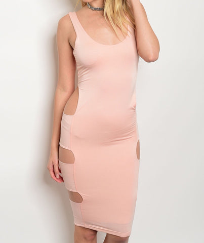 Peach Miss Me Bodycon Dress