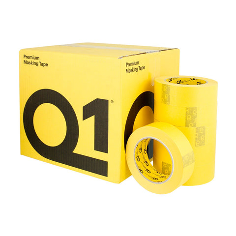 "Q1 PREMIUM YELLOW AUTOMOTIVE MASKING TAPE 1 1/2"" CASE (24 ROLLS) -"