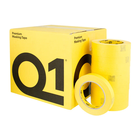 "Q1 PREMIUM YELLOW AUTOMOTIVE MASKING TAPE 3/4"" CASE (48 ROLLS) -"