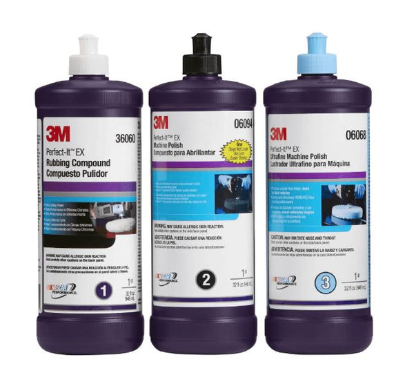 3M Perfect-It Buffing & Polishing Compound Kit 36060 06068 06085 QT WITH FREE CLOTH - Jerzyautopaint.com