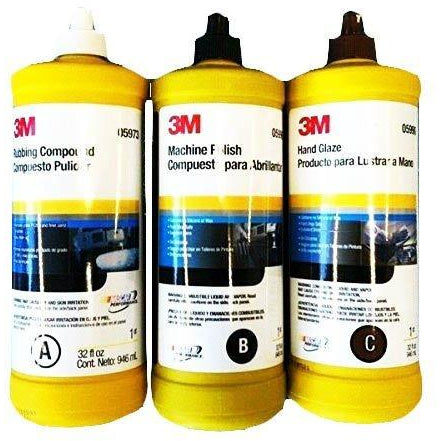 3M BUFFING & POLISHING Compound Hand Glaze Package 5973 5996 5990 - Jerzyautopaint.com