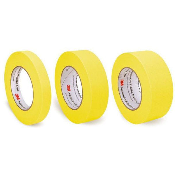 "3 Pack of 3M Yellow Masking Tape, 3/4"", 1.5"", 2"" - Jerzyautopaint.com"