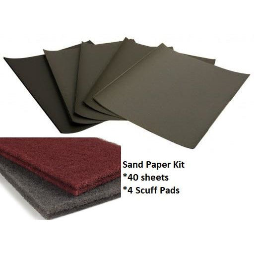 Sand Paper Kit 320 to 2000 Grit with Scuff Pads -