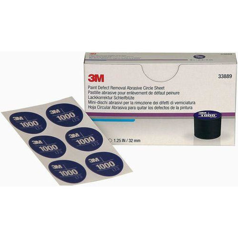 3M 33889 32 mm Paint Defect Removal Abrasive 1000 Circle Box of 10 Sheets -