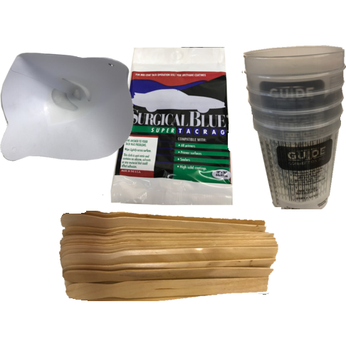Paint Preparation Kit: Mixing Cups, Strainers, Paint Sticks, Tack Cloth - Jerzyautopaint.com