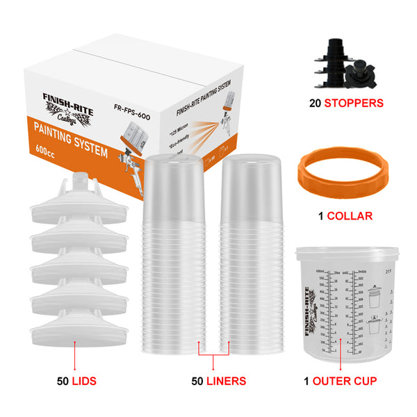 Finish-Rite PPS Replacement Cups and Liners  (20 oz - 125 Micron Filters) - Jerzyautopaint.com