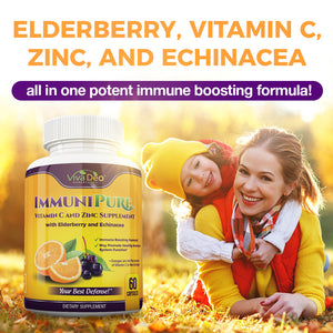 IMMUNIPURE - POWERHOUSE 10x Daily Immune Support - Elderberry, Zinc, Vitamin C, Echinacea, Turmeric, Probiotic, Garlic Supplement - 60 Capsules