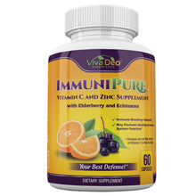 Load image into Gallery viewer, ImmuniPure | Daily Immune Support | Elderberry, Zinc, Vitamin C, Echinacea, Turmeric, Probiotic, Garlic Supplement - 60 Capsules