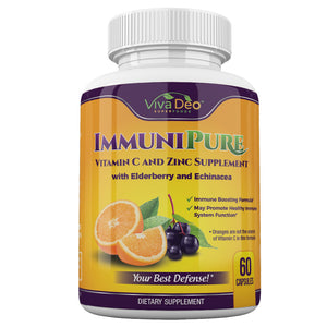 ImmuniPure | Daily Immune Support | Elderberry, Zinc, Vitamin C, Echinacea, Turmeric, Probiotic, Garlic Supplement - 60 Capsules