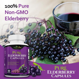 Pure Elderberry Capsules – Made with Organic Elderberries - 60 Black Elderberry Capsules for Immunity Support
