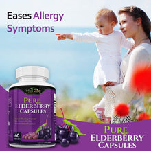 Load image into Gallery viewer, Pure Elderberry Capsules – Made with Organic Elderberries - 60 Black Elderberry Capsules for Immunity Support