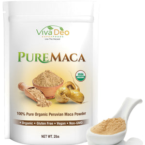 Pure Maca 2lb Value Size | 100% Raw Organic Pure Maca Powder | Non-GMO | by Viva Deo Superfoods