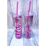 Pink Glitter Tumbler with Straw