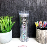 Silver Glitter Tumbler with Straw