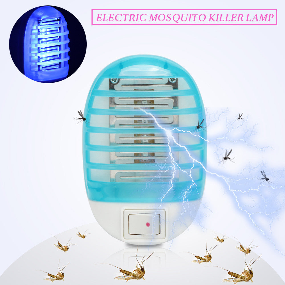 220V EU Plug Electric Mosquito Killer Lamp Insect Pest Bug Zapper Repeller Mini Blue Night Light - MoonPitch