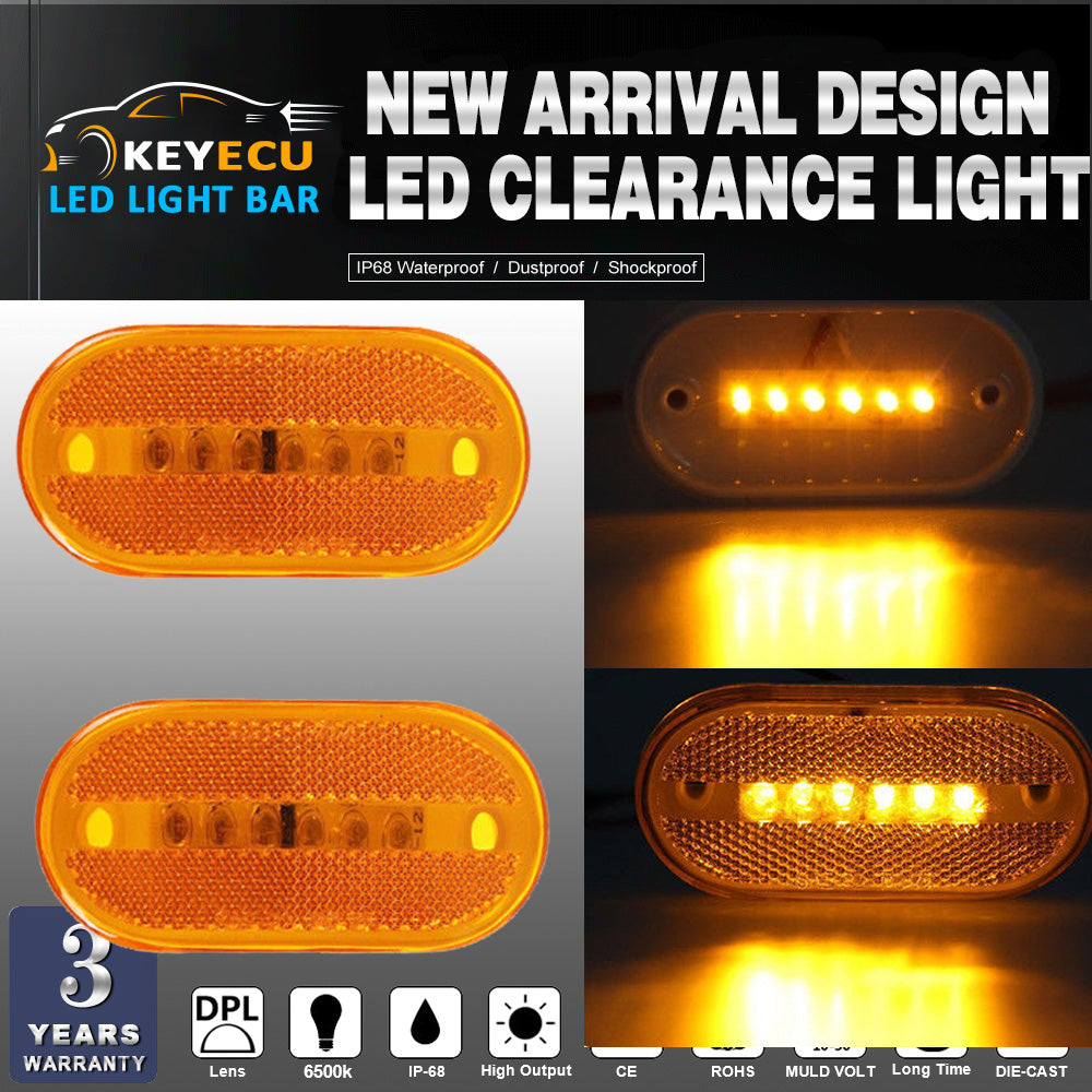 KEYECU  LED Marker Lights Amber Outline Lamps Bus Truck Trailer Camper Motorhome 6 Diode LED Clearance Side Marker Light - MoonPitch