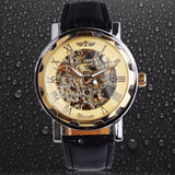 Classic Men's Gold Dial Skeleton Wrist Watch