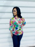 Colorful Floral White Top