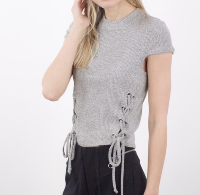 Grey Lace Up Top