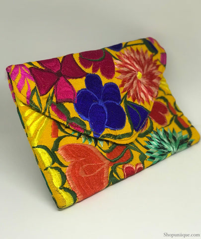 Medium Floral Yellow Clutch