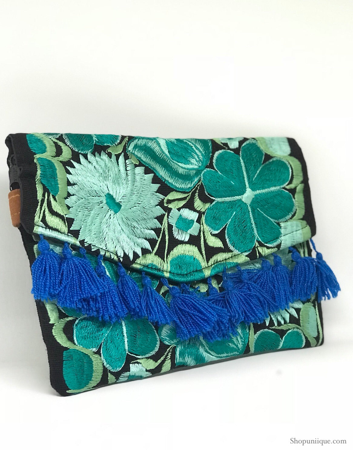 Blue Tassel Cross Body Clutch