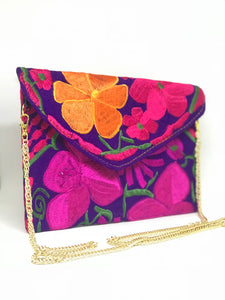 Medium Floral Purple Clutch