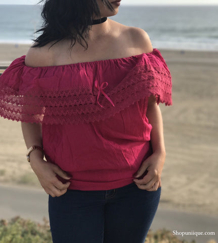 Rosa Mexicano Off-the-shoulder