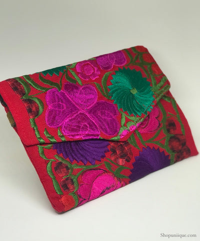 Medium Floral Red Clutch
